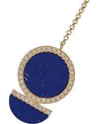 Kevia - Blue Gold-plated, Lapis And Crystal Necklace - Lyst