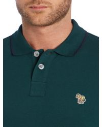 Paul Smith | Green Zebra Regular Fit Tipped Logo Polo for Men | Lyst