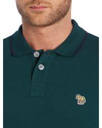 Paul Smith - Green Zebra Regular Fit Tipped Logo Polo for Men - Lyst