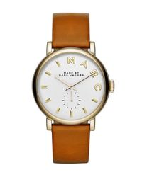Marc Jacobs - Brown 'baker' Leather Strap Watch - Lyst