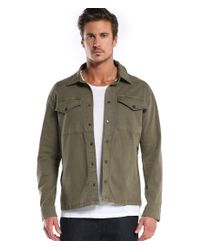 Michael Stars | Green Shirt Jacket With Zipper Pockets for Men | Lyst