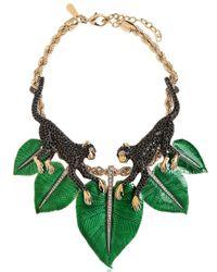 Roberto Cavalli - Green Monkey Necklace With Swarovski Crystals - Lyst
