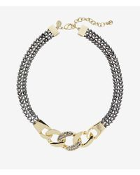 Express - Metallic Pave Embellished Status Link Necklace - Lyst