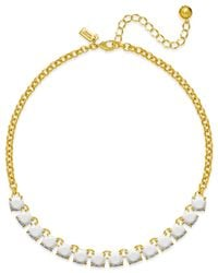 Kate Spade | Metallic Gold-tone And White Square Necklace | Lyst