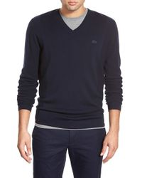 Lacoste | Blue V-neck Stretch Wool Sweater for Men | Lyst