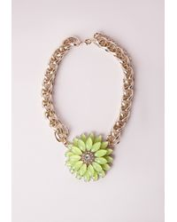 Missguided - Green Statement Floral Necklace Yellow - Lyst