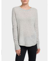 White + Warren | Gray Cashmere Tubular Blocked Crewneck | Lyst