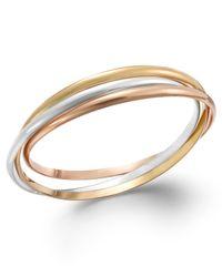 Giani Bernini | Metallic Tri-tone Interlocking Bangle Bracelet In 24k Gold Over Sterling Silver And Sterling Silver | Lyst