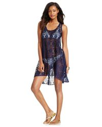 Gottex | Blue Crochet High-low Cover Up | Lyst