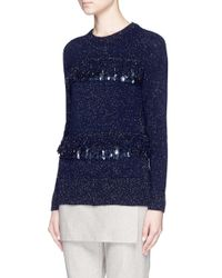 Thakoon - Blue Sequin Loop Fringe Wool-angora Sweater - Lyst