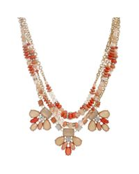 INC International Concepts - Red Goldtone Coral Mixed Bead and Stone Multirow Bib Necklace - Lyst