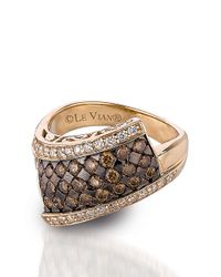 Le Vian | Metallic 14kt Yellow Gold Brown And White Diamond Ring | Lyst