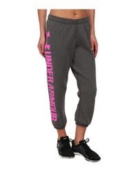 Under Armour | Black Ua Branded Fleece Capri | Lyst