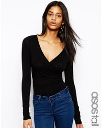 ASOS - Black Exclusive Wrap Front Body - Lyst