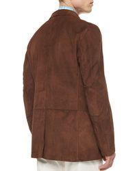 Kiton - Brown Three-button Suede Blazer for Men - Lyst