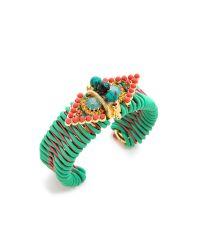 Elizabeth Cole - Green Cuff Bracelet - Lyst