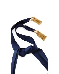 Ben-Amun - Metallic Leaf Statement Crystal Necklace - Gold/Blue - Lyst