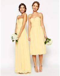 ASOS | Yellow Wedding Ruched Bodice Bandeau Midi Dress | Lyst