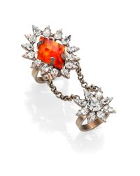DANNIJO - Red Nicola Crystal Chain Statement Ring - Lyst