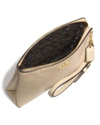 COACH - Natural Large Pouch Wristlet In Leather - Lyst