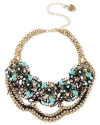 Betsey Johnson - Metallic Goldtone Patina Multicharm Cluster Frontal Necklace - Lyst