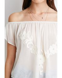 Forever 21 | Natural Embroidered Chiffon Off-the-shoulder Top | Lyst
