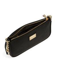 Calvin Klein   Black Crosshatched Leather Shoulder Bag   Lyst