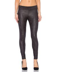 Monrow | Black Soft Leather Half Half Legging | Lyst