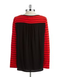 Two By Vince Camuto | Red Striped Hi Lo Top | Lyst