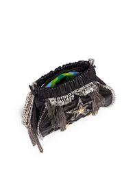 Venna - Black 'tri Star' Crystal Spike Leather Crossbody Chain Bag - Lyst