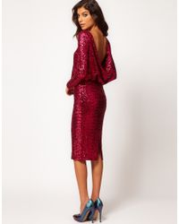 ee16e342a64a ASOS Collection Asos Sequin Cowl Back Dress in Pink - Lyst