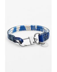 Caputo & Co. | Blue . Reversible Canvas & Leather Wrap Bracelet for Men | Lyst