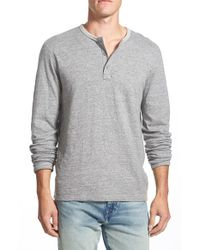 Lucky Brand Gray 'duofold' Double Faced Knit Long Sleeve Henley for men