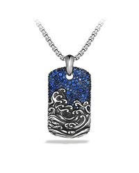 David Yurman | Blue Waves Tag With Sapphire for Men | Lyst