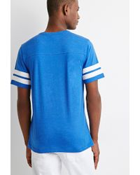 Forever 21 - Blue Varsity-stripe Tee for Men - Lyst