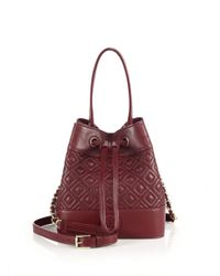 Tory Burch - Red Marion Quilted Leather Bucket Bag - Lyst