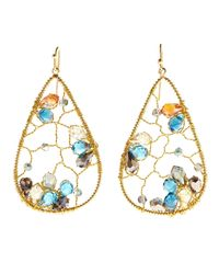 Nakamol | Multicolor Gold-tone Crystal Teardrop Earrings | Lyst