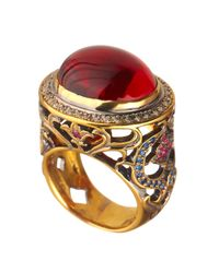Queensbee - Multicolor Oval Flower Ring Red - Lyst