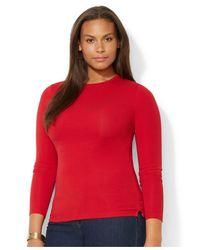 Lauren by Ralph Lauren - Red Plus Size Long-Sleeve Top - Lyst