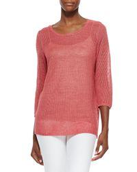 Belford - Pink 3/4-sleeve Mesh Linen Tee - Lyst