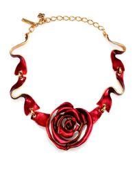 Oscar de la Renta | Red Rose Ribbon Necklace | Lyst