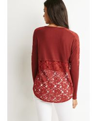 Forever 21 - Brown Lace Slub Knit Top - Lyst