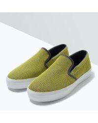 Zara | Yellow Mesh Plimsoll | Lyst
