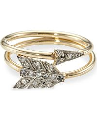 Annina Vogel | Metallic 9ct Yellow-gold Old-cut Diamond Arrow Ring Set - For Women | Lyst