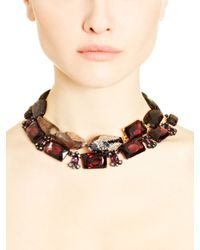 Oscar de la Renta | Purple Burgundy Quartz Glass & Swarovski Crystal Necklace | Lyst