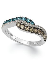 Le Vian | Multicolor Blue And White Diamond Ring In 14K White Gold (3/4 Ct. T.W.) | Lyst