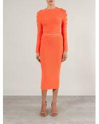 Cushnie et Ochs - Orange Ribbed Knit Skirt - Lyst