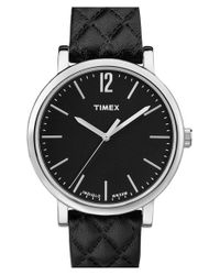 Timex - Black 'originals' Leather Strap Watch for Men - Lyst