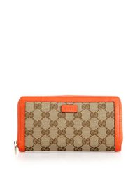 Gucci | Orange Gg Classic Zip Around Wallet | Lyst