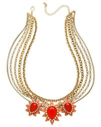 ABS By Allen Schwartz | Orange Gold-tone Coral-color Stone Multi-row Necklace | Lyst